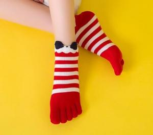China Custom logo, design Womens Girls Striped Cotton Five Fingers Toe Ankle Socks on sale