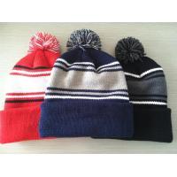 Hand Printing Lined Pom Pom Hat , Crochet Pattern Knitted Pom Pom Beanie Hat