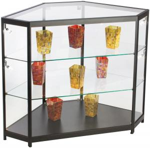 China 4ft Mobile Phone Display Cabinet , Black Glass Corner Display Cabinet With Lock on sale