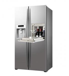 China 550L Stainless Steel Saving-energy Double Doors Side By Side Refrigerator With Ice Maker and Home Bar on sale