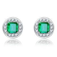 China Genuine Emerald Stud Earrings , Emerald Green Diamond Gemstone Earrings on sale