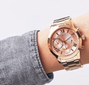 GUESS LADIES' SOLAR WATCH ROSE GOLD TONE W1070L3 Brand New