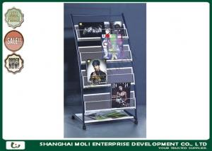 China Moveable metal free standing magazine newspaper rack display , magazine ladder rack on sale