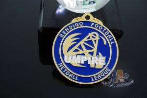 Quality Football, Diving Or Basketball Sports Events Racing Metal Award Medals, Imitation Gold Plting With Blue Soft Enamel for sale