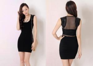 China Sexy Sleeveless Ladies WoolSkirt Black with Square Neck , Narrow Waist on sale