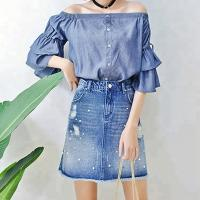 China Women Charming Denim Skirts With Pearls ,Blue Jean Skirts For Ladies on sale