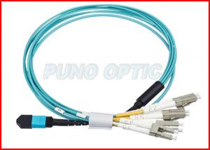 China 24F Fiber Optic MM OM3 MPO Trunk Cable , 100Gbps Protocol Aqua Cable Multimode on sale