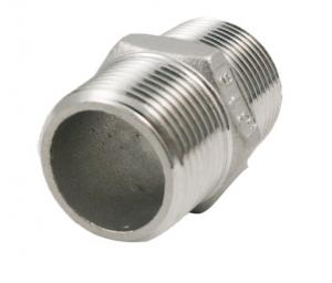 China Stainless Steel Screwed Pipe Fittings 150lb Male Hex Nipple Threaded Connection on sale