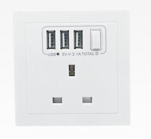 China Flame Retardant PC 50HZ 2.1A 3 USB Wall Socket Tin Phosphor Bronze For Hotel , Villa on sale