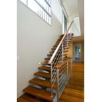 Indoor Thailand oak wooden straight staircase designs