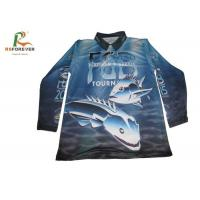 Long Sleeve Sports Printed Polo Shirts For Men 100 Percent Polyester Fishing Jersey