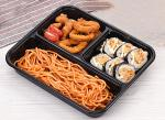3-department takeaways food tray Rectangular Disposable Food Trays