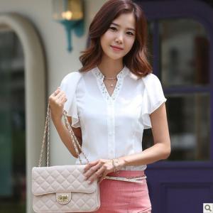 China Women's Chiffon Short Sleeve Blouse on sale