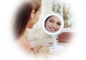 China Round 5 Inch LED Table Lamp Adjustable Angle Cosmetic Mirror Touch For Makeup on sale