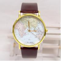 Retro Style Leather Band Quartz Watch , World Map Men Casual Wristwatch