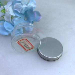 China Small Confectionery Plastic Can with Aluminum Lid Candy Packaging Plastic Jar on sale