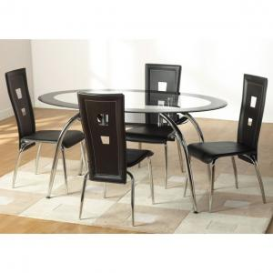 China hot sell oval glass dining table and chairs xydt-099&xydc-076 on sale