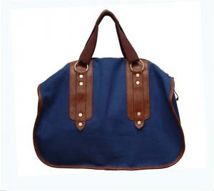 Quality Ladies PU recycle canvas fabric and leather tote bag with 210D polyester lining for sale