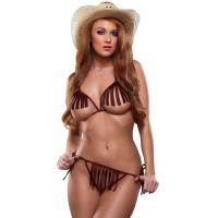 China Bareback Rider Cowgirl Lingerie Party Adult Costumes Bra and G-string Brown on sale
