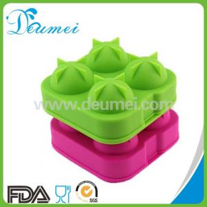 China Best Selling 4 Cavity Round Silicone Ball Shaped Ice Cube Tray/Silicone Ice Ball Maker on sale