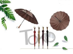 China Wooden Unbreakable Walking Stick Umbrella Auto Open 190T Polyester Fabric on sale