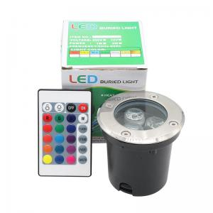 China High Brightness Waterproof Inground Light 85-265V AC 3W Round RGB LED Underground Light With IR 24 Keys Control on sale