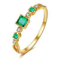 18k Genuine Gold Emerald Diamond Ring ,  Gemstone Diamond Promise Rings