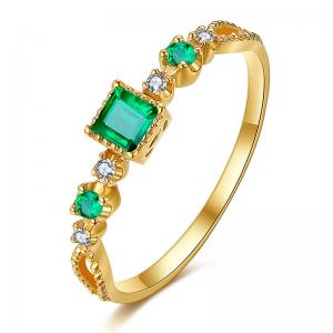 China 18k Genuine Gold Emerald Diamond Ring ,  Gemstone Diamond Promise Rings on sale