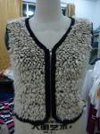 Faux Fur Black Binding Fashionable Winter Coats Sleeveless Zip Up Vest For Lady