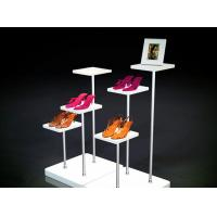 Square / Round Shape Shop Display Shelving White Color For Shoes Bags