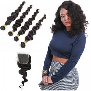 China Natural Color Black Indian Virgin Remy Hair Extensions 4 Bundles Loose Wave on sale