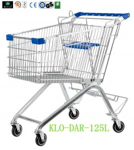 China 125L Toddler Metal Supermarket Cart With Beer Rack / 4 Swivel 4 Inch PU Wheel on sale