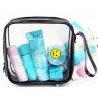 Plastic Sewing Zipper Makeup Bag , Smile Printing Clear Cosmetic Makeup Bag