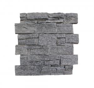 China Black Quartzite Slate Cement Wall Cladding Ledger Panel Wall Panel Slate Stacked Stone Veneer Cultured Stone on sale