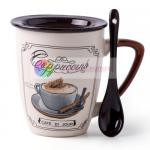 350ml Handmade Stoneware Mugs Decal Design Safety With Spoon And Lid