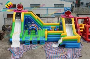 China Waterproof Inflatable Obstacle Castle Water Slide Park Customized Logo Painting on sale