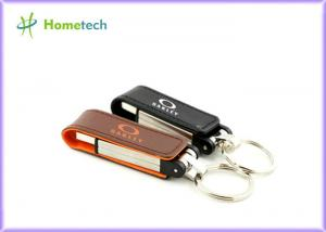 China Black / Red / Yellow Leather USB Flash Disk 1GB 2GB High Speed on sale