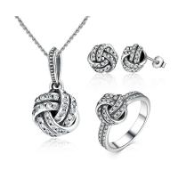 925 Sterling Silver Necklace Earring Ring Sets Love Knot Weave With Cubic Zirconia