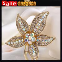 Autumn Golden Crystal Maple Leaf Brooch Pins,Brooch Pin Plant Costume Jewelry for Women