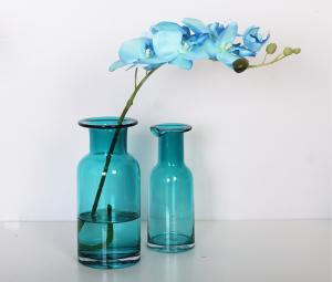 Decorative Glass Vases - EveryChina & Home Deco Glass Vases / Blue Glass Flower Bottle / Round Top ...