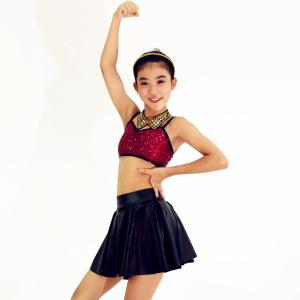 China Passionate Modern Dance Wear Rhinestones Collar Seperated Imitation Leather Skirt on sale