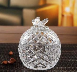 China Round Clear Sugar Pot Glass Candy Jar House Glassware Decoration Gift on sale