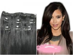 China Cusom 18 inch Black European Straight Real Hair Clip In Hair Extensions on sale