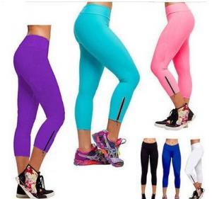 China Women Capri YOGA Running Pants High Waist Cropped Leggings Fitness on sale