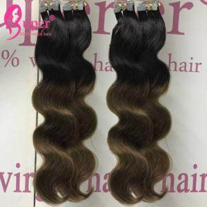 China Sew In Blonde Virgin Tape In Hair Extensions Full Head Thick Skin Weft on sale