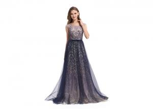 China Sequin Elegant Party Dresses For Women , A - Line Sleeveless Long Sleeve Evening Dresses on sale