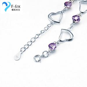 China Fashion 925 Sterling Silver Heart-shaped Amethyst Bracelet on sale