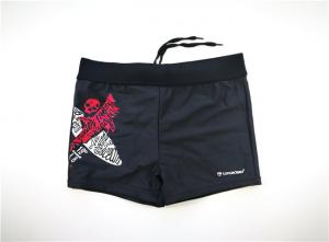 China Young Boy Short Swim Trunks Rubber Print Recycled Material Functional Drawcord on sale