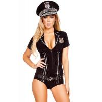 Wholesale Cop Robber Costumes Spandex Black Sexy Officer Bling Cop Costume for Halloween Christmas XXS to XXXL