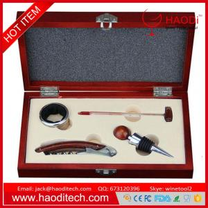 China 4 Piece Wine Tool Set kit Bottle Opener Wooden Box Gift Corkscrew Accessories on sale